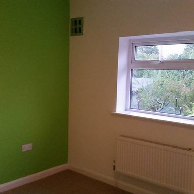 Recently decorated room with bright Green painted wall